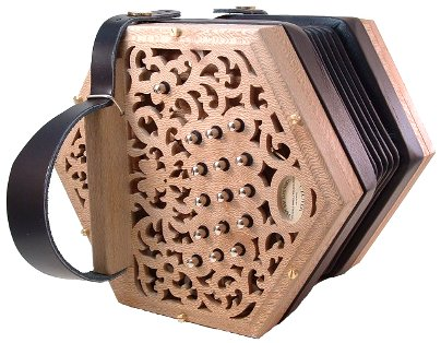 Clover 30 Key Anglo Concertina, Natural Finished Ends
